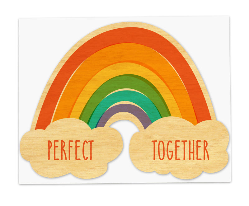 Perfect Together Rainbow Real Wood Greeting Card