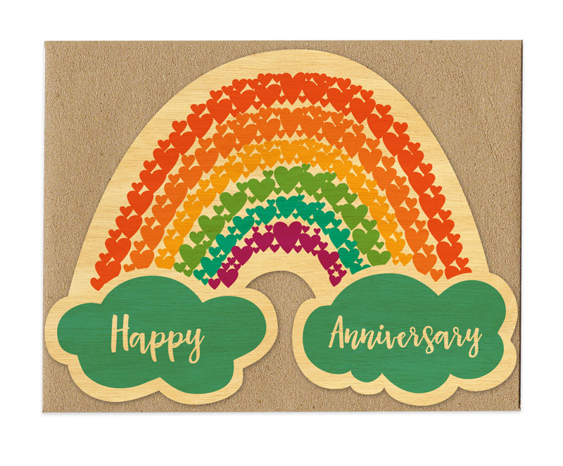 Happy Anniversary Rainbow of Hearts Real Wood Greeting Card
