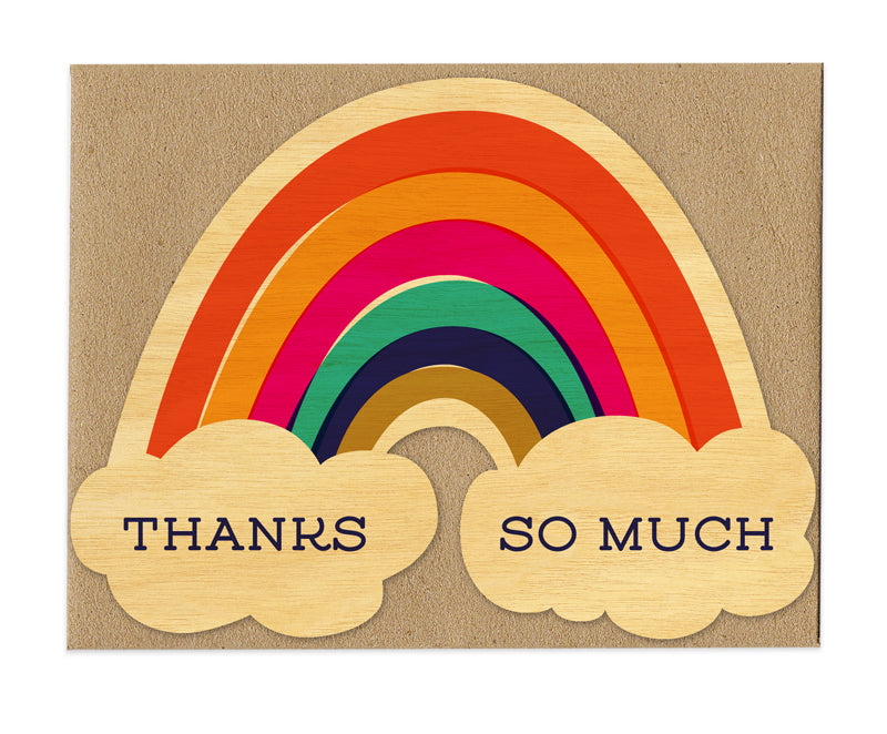 Thanks So Much Rainbow Thank You Real Wood Greeting Card