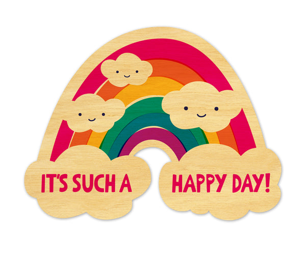 It's Such A Happy Day Rainbow Real Wood Greeting Card