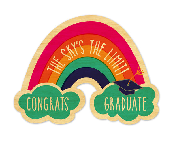 Graduation Congratulations Rainbow Real Wood Greeting Card