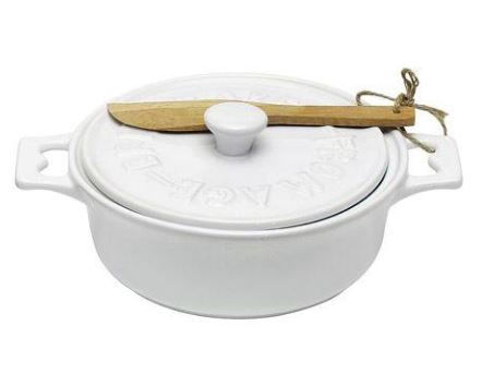 Stoneware Brie Baker with Wood Spreader 7-in