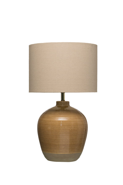 Terracotta Table Lamp with Crackle Reactive Glaze Finish & Linen Shade (Each one will vary)