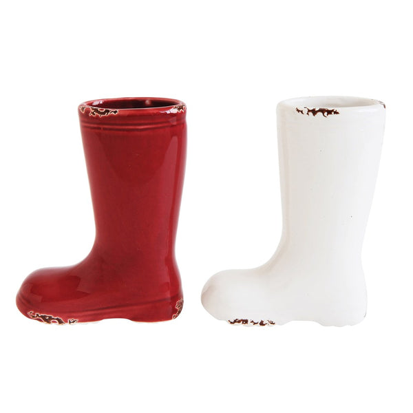 Holiday Ceramic Stoneware Mini Boot Vase Set - Red and White - Set of 2 - 4-in