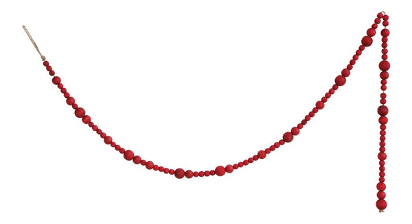 Paulownia Wood Bead Garland - Red - 72-in