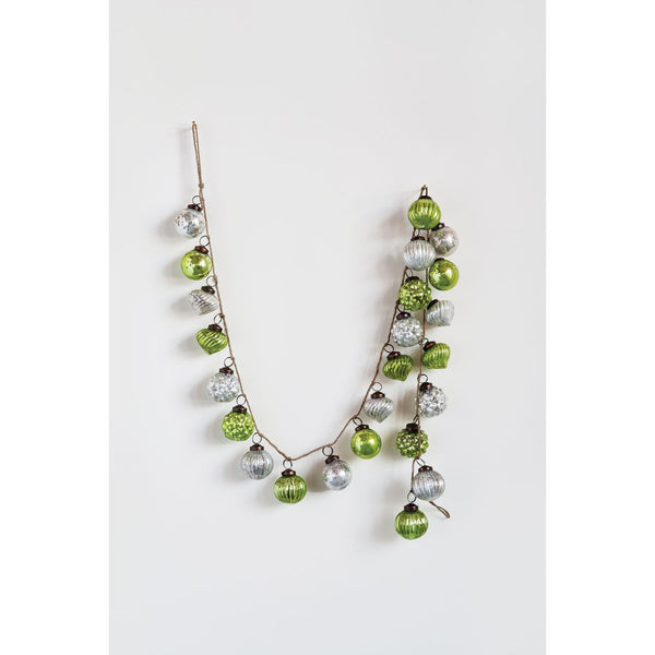 Green & Silver Embossed Mercury Glass Ornamental Garland - 72-in