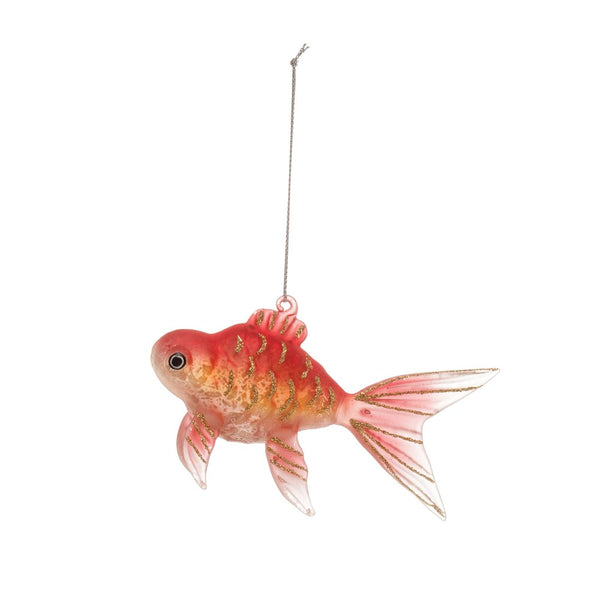 Glass Goldfish Ornament - 5-in
