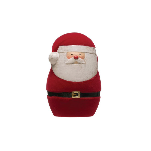 Resin Flocked Santa Figure - Red - 3-in