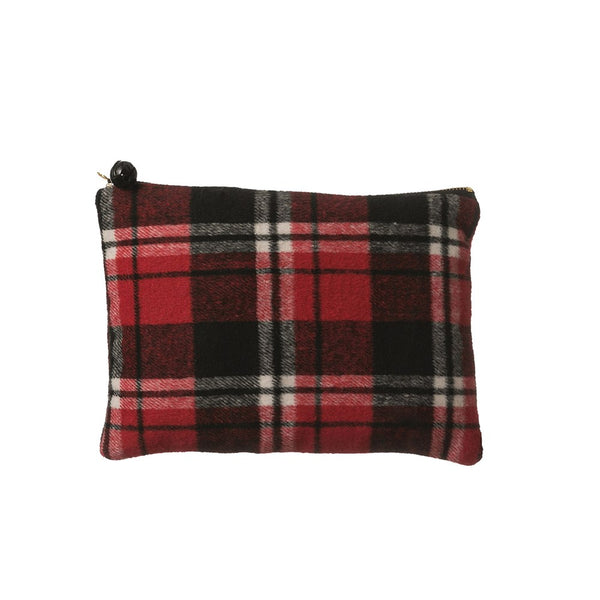 Red and Black Plaid Fabric Zip Pouch with Jingle Bell Pull - 9-1/2-in