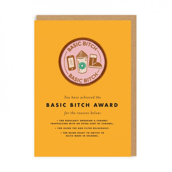 Basic Bitch Woven Patch Greeting Card