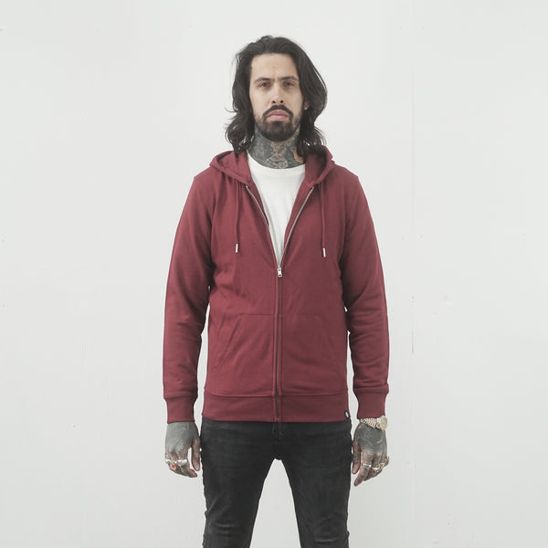 Burgundy Essential Zip Thru Hood