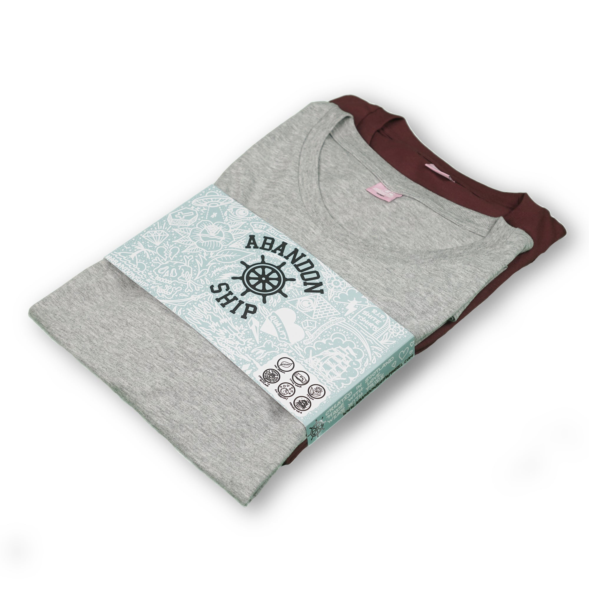 Burgundy/Grey Essential T-Shirt Twin Pack