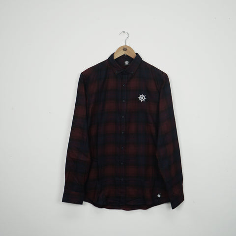 Wheel Checked Shirt Maroon