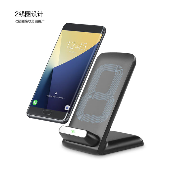 [Fast Charge] Wireless Charger Stand with Adjustable Coil by Pantheon for Samsung Galaxy S7/S7 edge/S6 Edge Plus Note 5/7 and All Standard Qi-Enabled Devices - Qi-Infinity