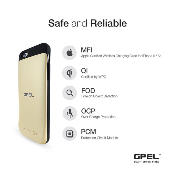 [Apple Certified Mfi] Qi Wireless Charging Battery Case [Gold]  for iPhone 6 and 6S