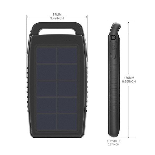 10,000mAh Portable Solar Charger Battery Pack Rain-resistant Dirt/Shockproof Dual USB Port