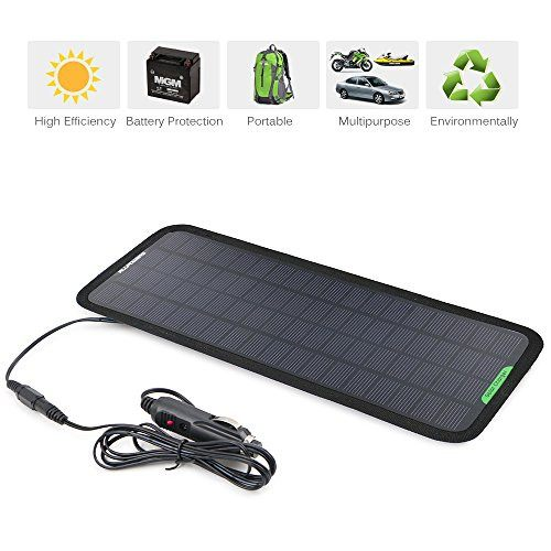 5W Portable Solar Car Battery Charger Bundle with Cigarette Lighter Plug, Battery Charging Clip Line, Suction Cups (18V)