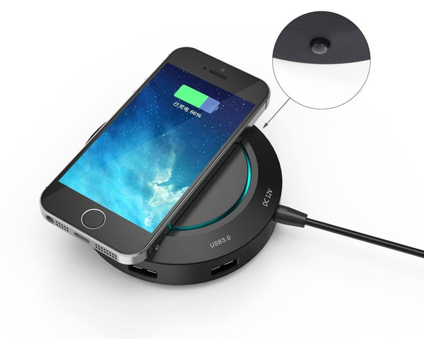 Multi-purpose Wireless Charger with 4 Ports USB 3.0 5Gbps Hub for Phones and Tablets