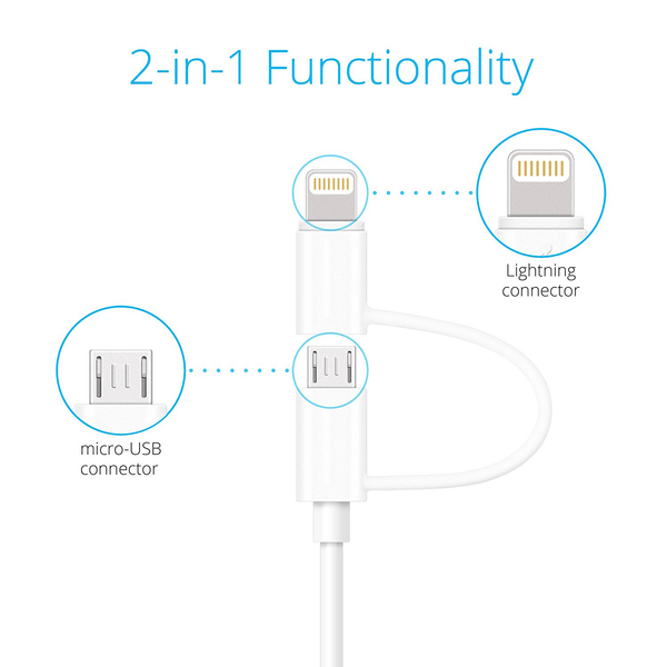 Apple-Samsung Combo [Apple Certified] (3.3 Ft) Lightning and Micro USB Sync and Charge Cable - Qi-Infinity