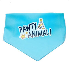 Pawty Animal Dog and Cat Light Blue Birthday Bandana (Large)