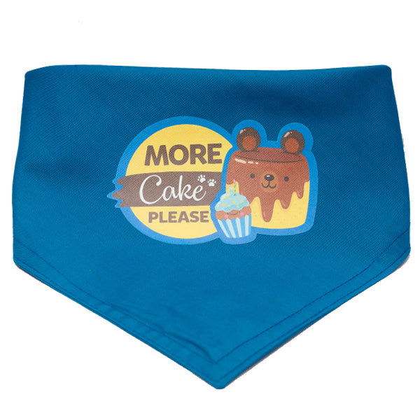 More Cake Please Dog and Cat Blue Birthday Bandana (Large)