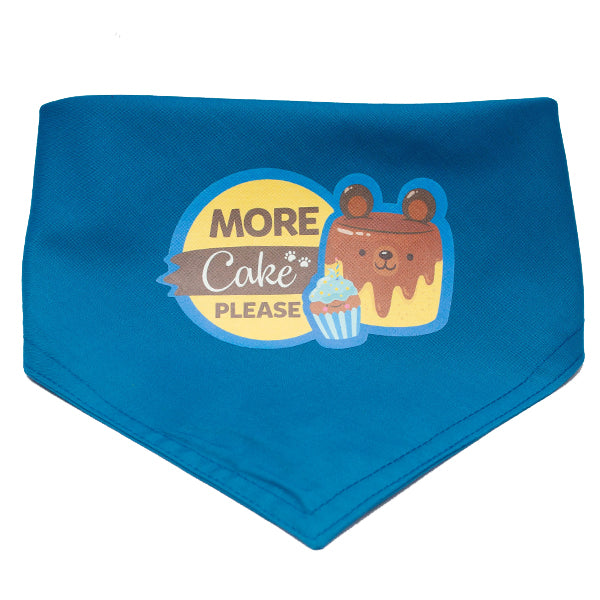 More Cake Please Dog and Cat Blue Birthday Bandana (Medium)