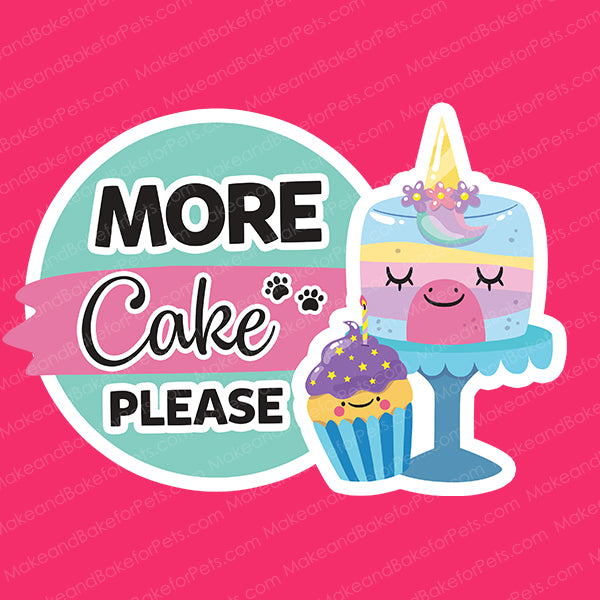 More Cake Please Dog and Cat Pink Birthday Bandana (Large)