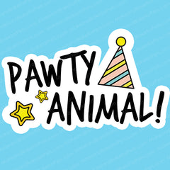 Pawty Animal Dog and Cat Light Blue Birthday Bandana (Medium)