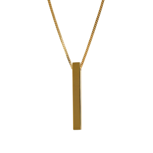 Long Square Bar Pendant Gold