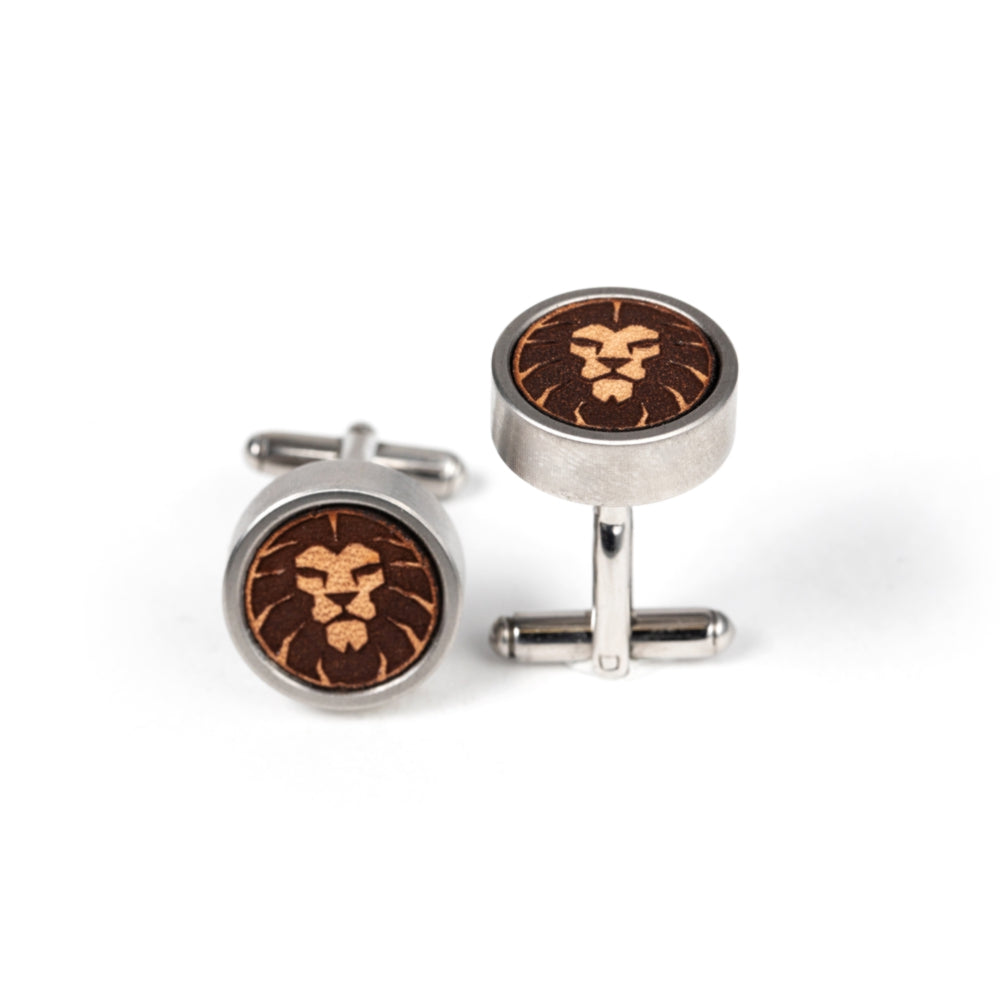 Lion Leather Cased Cuff Links