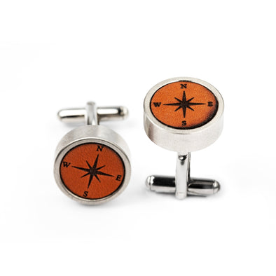 Compass Leather Cased Cuff Links