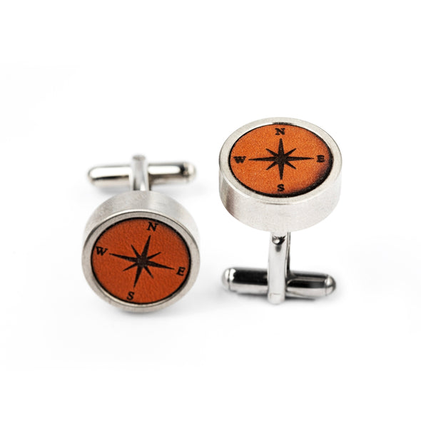 DFL 005 - Compass Leather Inlay Cuff Links