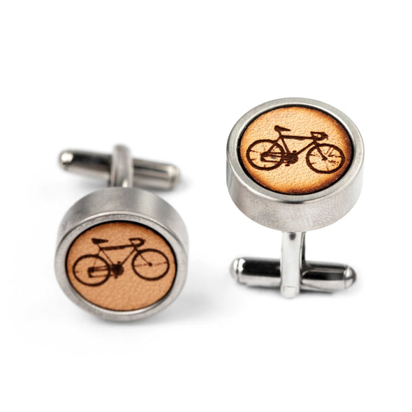 DFL 007 - Bicycle Leather Inlay Cuff Links