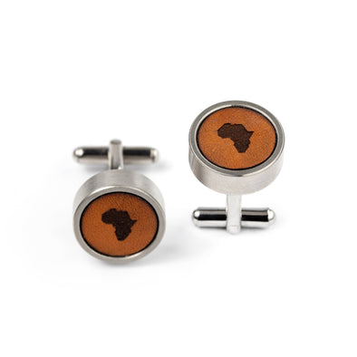 Africa Leather Cased Cuff Links