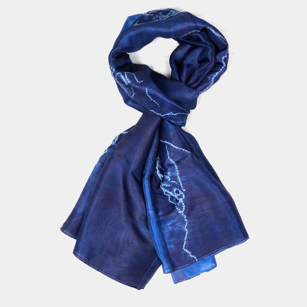 Himalayan Mountain Moon Indigo Silk Scarf