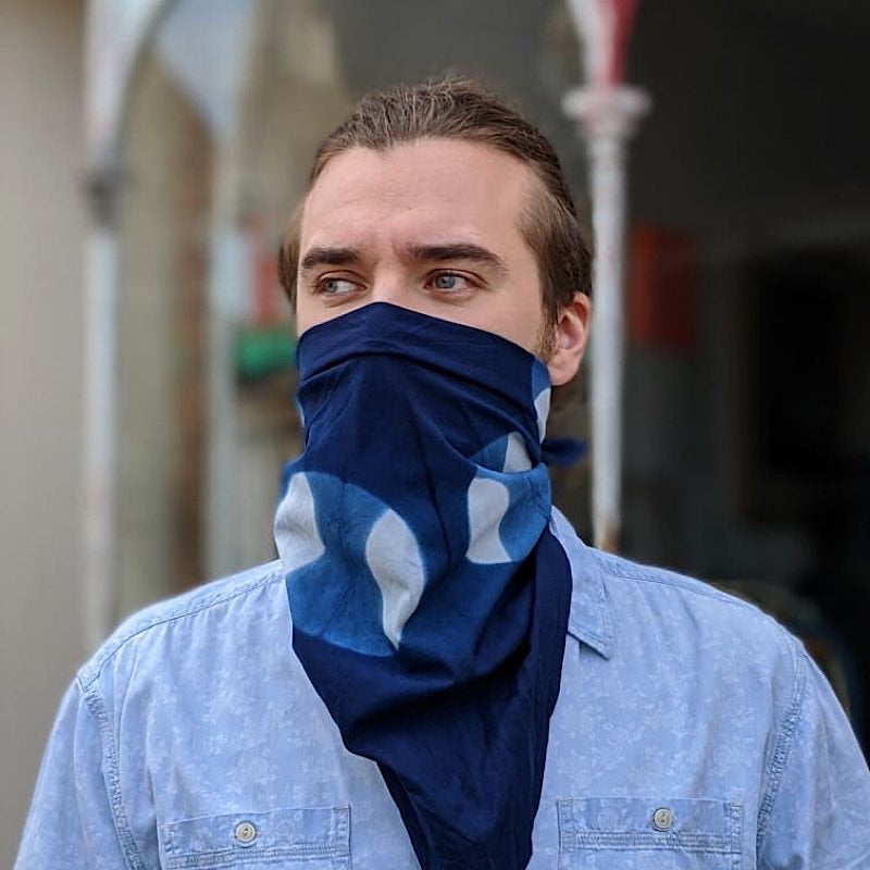 12 Moon Cycle Indigo Dyed Cotton Bandanna