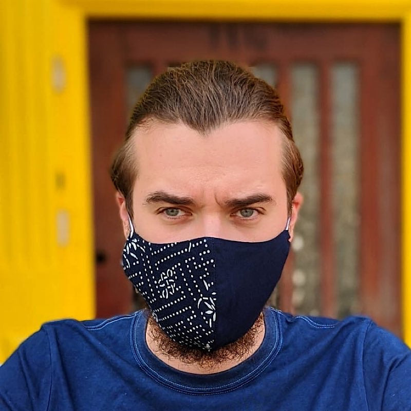 Blue Dot Patch Indigo Mask with Filter Pocket