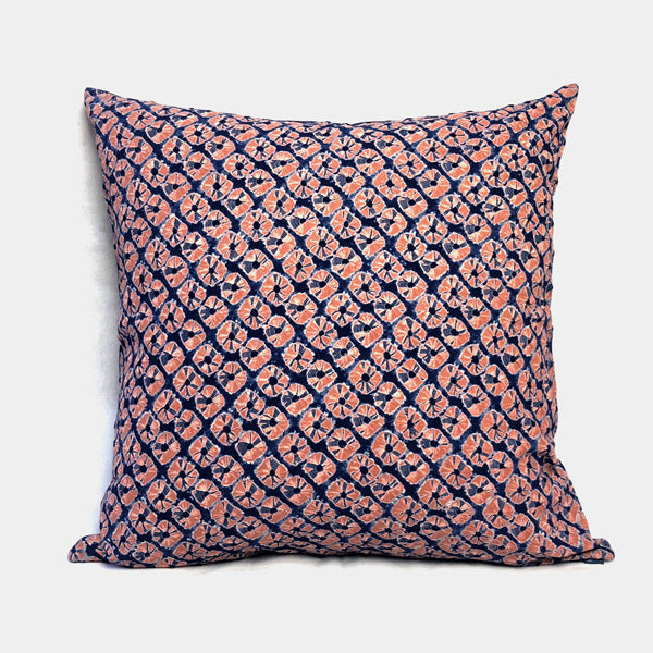 Red and Blue Flower Shibori Cushion
