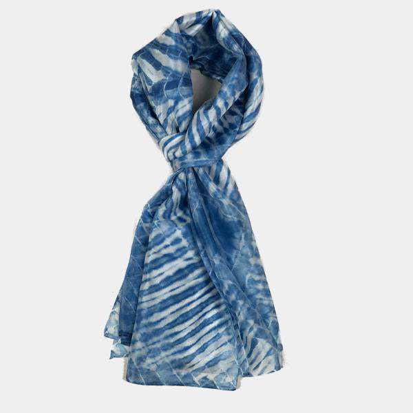 Aquamarine Water Ripples Silk Scarf