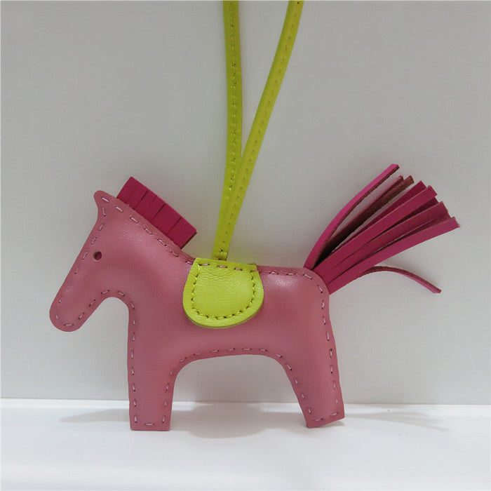 Lambskin Leather Mini Horse Bag Charm in Pink