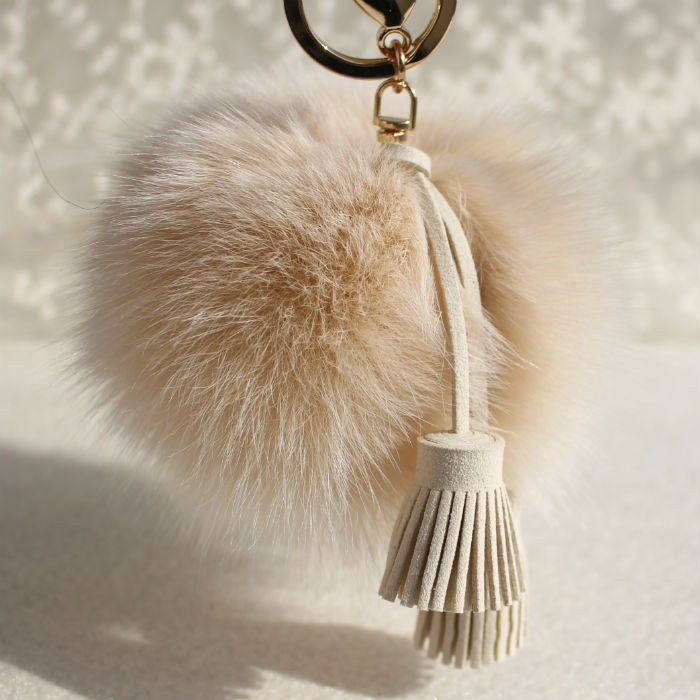 Pom Pom Charm in Ivory with Suede Tassels