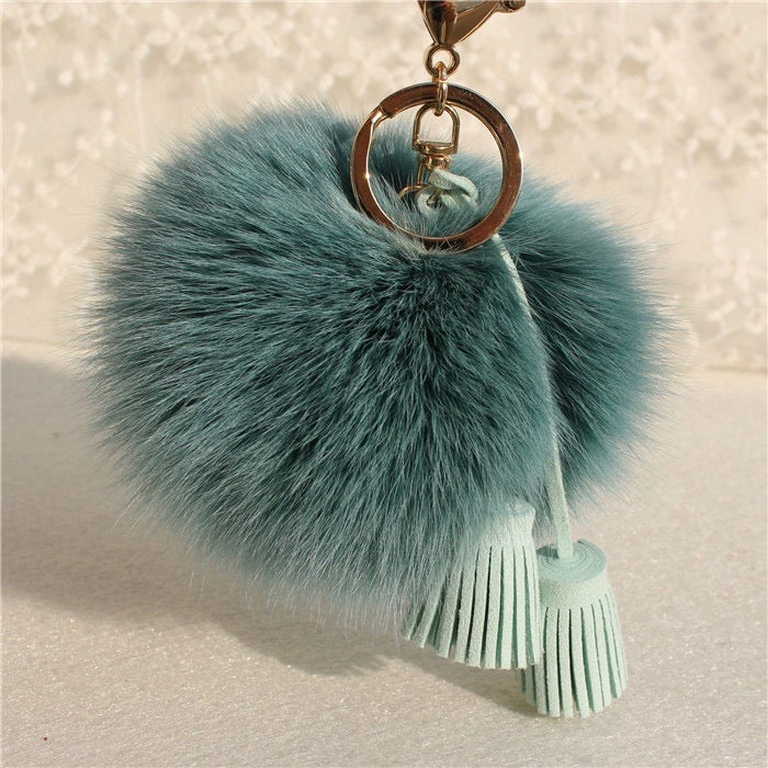 Pom Pom Charm in Teal with Suede Tassels
