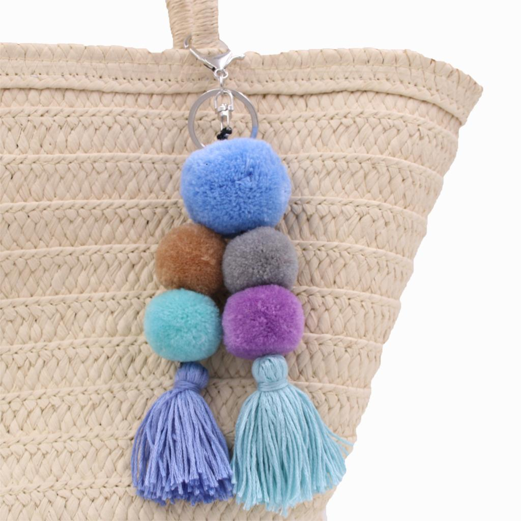 Boho Pom Pom Tassel Bag Charm in Blues and Violet