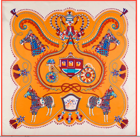 Horse & Carriage Square Silk Scarf In Ivory/Orange