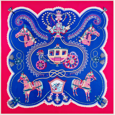Horse & Carriage Square Silk Scarf In Red and Cobalt Blue
