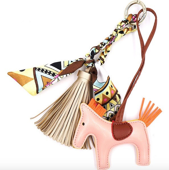 Horse and Tassel Bag Charm in Pink and Gold