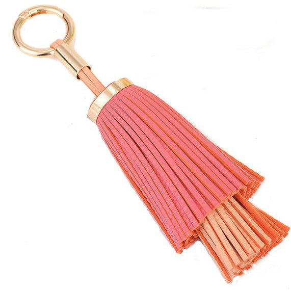 Double Layered Tassel Bag Charm In Pink and Peach