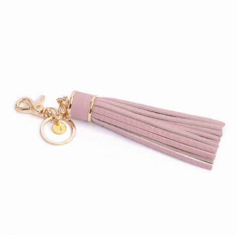 Personalized Tassel Bag Charm In Mauve