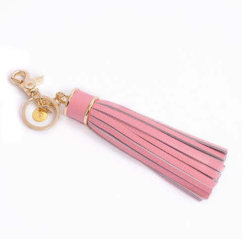 Personalized Tassel Bag Charm In Pink Pop