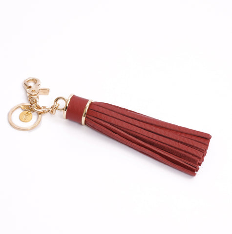 Personalized Tassel Bag Charm In Red